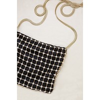 Crystal Criss Cross Chain Bag in Black & Gold
