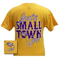 Louisiana State LSU Tigers Just a Small Town Girl Gold Girlie Bright T Shirt