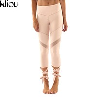 Kliou 2017 Casual Trousers For Ladies New Arrival Womens Plain Black High Waist Wide Waistband Tie Up Skinny mesh Leggings