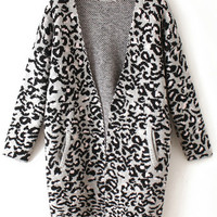 Grey Leopard Print Long Sleeve Knitted Cardigan