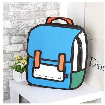 2017 Creative Style 3D Comics Backpack Personality Preppy Style School Bag For Teenage Girls Boys Second Element Backpack