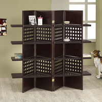4 panel espresso finish wood room divider shoji screen with 4 shelves in the center