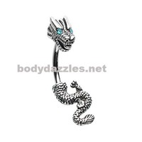 Never Ending Dragon Belly Button Ring Navel Ring Silver 14ga
