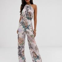 ASOS DESIGN Satin halter open back jumpsuit in print | ASOS