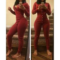 Fashion  deep V solid color Jumpsuits
