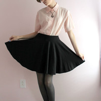 Womens Pale Pink Kawaii Fancy Collared Pearl Button Down Top