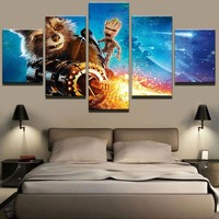 Guardians of the Galaxy Groot and Raccoon Canvas Print