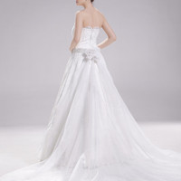 Lace wedding dress, bridal dress with pockets and embroidered crystals--Miriam