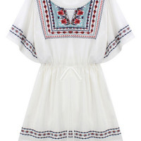 ROMWE Batwing Sleeves Embroidered Self-tie White Dress