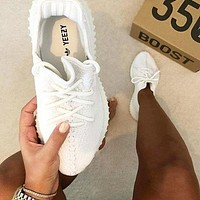 Adidas Women Yeezy Boost Sneakers Running Sports Shoes White