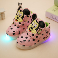 Girl's leather boots baby children toddler lights LED fashion mickey sports casual single shoes ninas kids tenis infantil