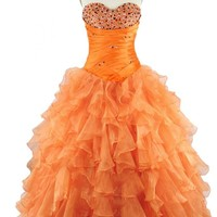 Sunvary 2015 Orange Ball Gown Prom Dress Quinceanear Dress with Ruffles