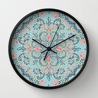 Gypsy Floral in Red & Blue Wall Clock by micklyn