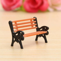 Resin Crafts Modern Park Benches Miniature Fairy Garden Miniatures Accessories Toys for Doll House Courtyard Decoration