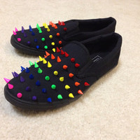 Multi-Colored Spikes on Black Canvas Shoes