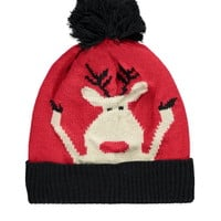 Reindeer Graphic Ribbed Beanie - Womens accessories, jewellery and bags   shop online   Forever 21 - 2000158169 - Forever 21 EU English