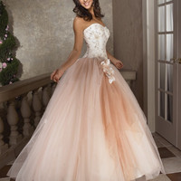 Sweetheart Strapless A-Line Tulle Prom Dresses