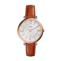 Jacqueline Date Leather Watch, Brown