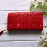 LV Louis Vuitton Hot Sale Fashion Embossed Letters Pure Color Zipper Wallet Clutch Key Case Bag