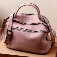Causal Chic Dusty Pink Genuine Leather Tote. Bowling Bag. Weekend Bag