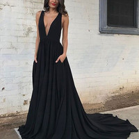 Prom Dress Black Evening Dresses Ruffles Long Custom Dresses
