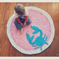 Custom Crochet Crab Rug Cotton Pink, Teal, and White Round Circle Rug Custom Colors Nautical Nursery Kids Rug