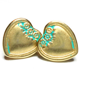 Antique gold patina turquoise green heart post button by zurdokero