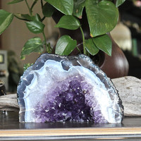 """3.8lbs. Amethyst Cathedral Geode Cave Tower, 7"""" across x 4.5"""" tall, Chakra, Reiki Healing, Boho Home Decor, Rock & Crystal Shop"""