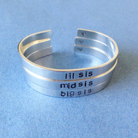 Set Of 3 Big Sis Mid Sis Lil Sis Friendship Sisters Hand Stamped Bracelet Aluminum Skinny Cuff Personalized Gift