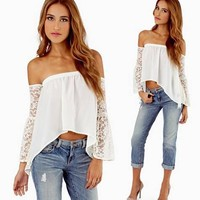 NWT Sexy Ivory Off The Shoulder Boho Peasant Long Sleeve Lace Top Blouse Summer