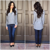First Class Business Blouse in Charcoal Grey
