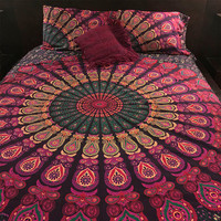 Roundie mandala  duvet cover and 2 matching pillowcases, Indian tapestry doona cover+2 pillowcases, Boho bed set (duvet and pillowcases)