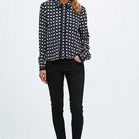 Cooperative Retro Print Blouse in Navy - Urban Outfitters