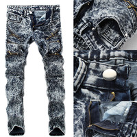 Designer Fashion Men Pants Jeans Stretch Slim Straight Zipper Fit Skinny Denim Jeans Snow Color Men