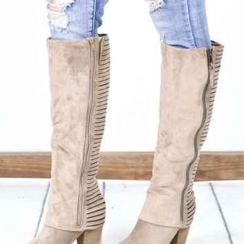 Very G: Very Strippy Heeled Suede Boot {L. Taupe}