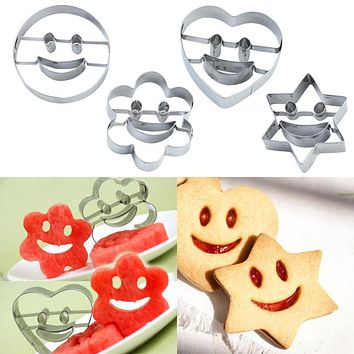 New 4Pcs/Set Smiling Face Cookies Cutter Pastry Tools Biscuit Cake Decorating Mold Accessoires Patisserie Cakecookie Mould