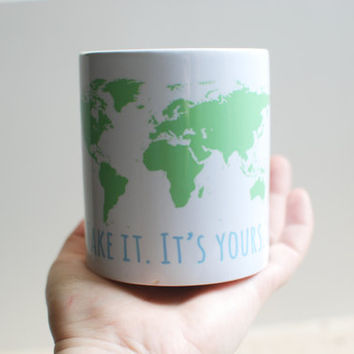 World Map Ceramic Mug - Coffee Mug - Motivational Quote Kitchen Decor - Gifts For best Friends -  Green And Blue Cup - UK Mugs - World Cup