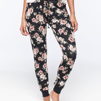 Full Tilt Floral French Terry Womens Jogger Pants Black Combo  In Sizes