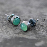 sterling silver and chrysoprase stud earrings