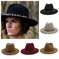 Limited Time Sale! Stunning Wide Brim Leopard Accent Fedora