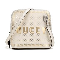 Gucci GUCCY Sega Script Leather Cross Body Bag White/Gold 511189