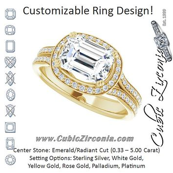 Cubic Zirconia Engagement Ring- The Kylee (Customizable Cathedral-set Emerald Cut Style with Split-Pavé Band)