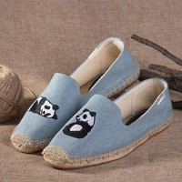 Soludos Pandas Platform Smoking Embroidery Slipper Blue - Best Deal Online