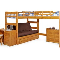 Woodcrest Heartland Futon Bunk Bed with Extra Loft - Honey Pine | www.hayneedle.com