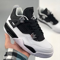Nike Air Jordan 4 Retro black and white color matching couple sneakers shoes