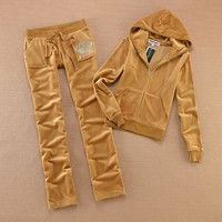 Juicy Couture Studded Jc Logo Crown Velour Tracksuit 8605 2pcs Women Suits Brown