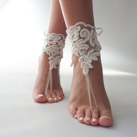 Free Ship ivory pearls barefoot sandals beach wedding anklet bellydance  beach pool country wedding sexy feet bridesmad weddingday