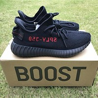Kanye West x Adidas Yeezy 350 V2 Boost Core Black /Core Black Solar Red Sport Shoes Running Shoes CP9652