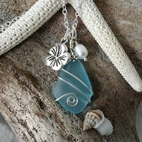 Handmade in Hawaii, Wire wrapped blue sea glass necklace,  Fresh water pearl, Hibiscus charm, Sterling silver chain, Gift for her.