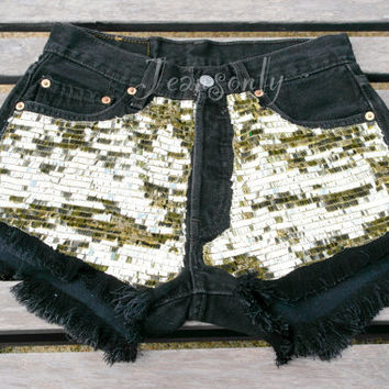 Levi Black High waisted denim shorts Gold Glitter Sequined Hipster Tumblr by Jeansonly